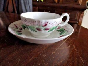 Charming Staffordshire Hand Painted Porcelain Cup Saucer 1840 1850
