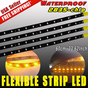 4x 24 60cm Amber Under Eye Led Light Strip Car Motor Truck 2835 12v Waterproof