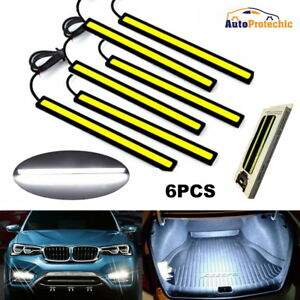 6 12v Car Cob Led Chip Daytime Running Light Lamp White Bar Strips Super Bright