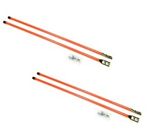 2 Pair Of 36 Universal Snow Plow Blade Marker Guide Kits Fluorescent Orange