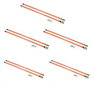 5 Pair Of 36 Universal Snow Plow Blade Marker Guide Kits Fluorescent Orange