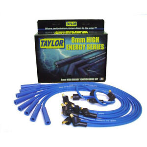Taylor Spark Plug Wire Set 64652 High Energy 8mm Blue Straight For Ford V8