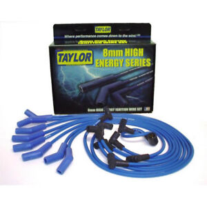 Taylor Spark Plug Wire Set 64604 High Energy 8mm Blue 135 For Chevy V8