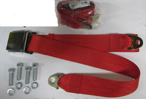 Bright Red Vintage 2 Point Seatbelt Red Lap Seat Belts 2 Mounting Kit 74