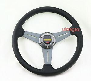 Universal 350mm Racing Titanium Ti Style Black Spoke Racing Steering Wheel horn