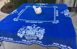 Vintage Hand Embroidered Blue White Linen Greed Inspired Card Table Cloth 48x48