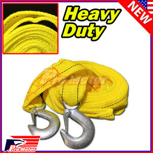 10ft 2 X 10 3m Yellow Rope Heavy Duty Tow Strap With Hooks 6 600 Lb Capacity