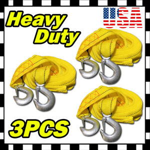 10ft 2 X 10 Yellow Rope Heavy Duty Tow Strap With Hooks 6 600 Lb Capacity