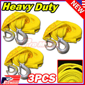 3 X 10ft 2 X 10 Yellow Rope Heavy Duty Tow Strap With Hook 6 600 Lb Capacity