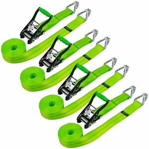 Vulcan Ratchet Strap With Wire Hooks 2 Inch X 15 Foot 4 Pack High viz