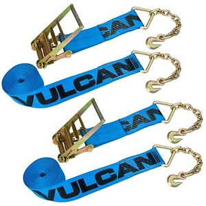 Vulcan Heavy Duty Chain Anchor Ratchet Straps 4 X 30 6600 Lbs Swl 2 Pack