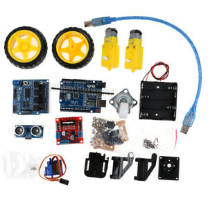 4wd Robot Car Kits Uno Bluetooth Ir Obstacle Avoid Line Follow L298n For Arduino