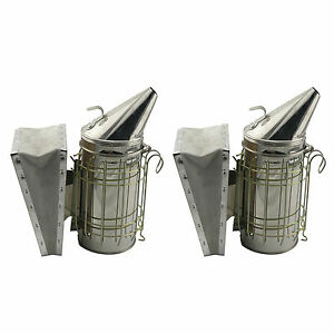Set Of 2 Stainless Bee Hive Smoker Steel With Heat Shield Beekeeping Equipment