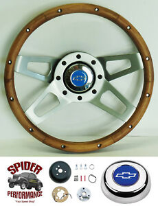 1967 Camaro Steering Wheel Blue Bowtie Grant 13 1 2 Walnut 4 Spoke Wheel