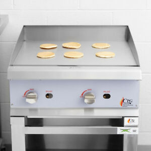 24 Gas Commercial Restaurant Kitchen Countertop Griddle With Manual Controls