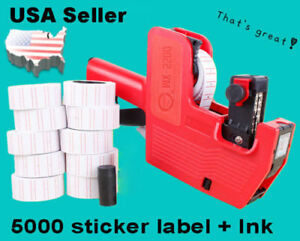 Mx 5500 8 Digits Eos Price Tag Gun 5000 White W Red Lines Sticker Labels Ink
