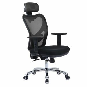Lscing High Back Comfortable Mesh Office Chair With Adjustable Headrest Armrest