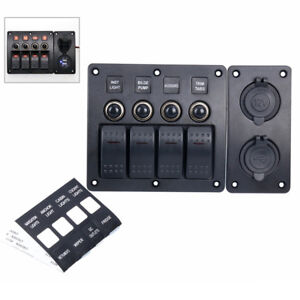New 4 Gang Led Indicators Rocker Circuit Breaker Waterproof Marine Switch Panel