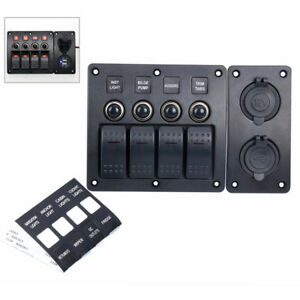 4 Gang Led Indicators Rocker Circuit Breaker Waterproof Marine Switch Panel new