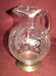 Sterling Silver Mounted Depression Glass Water Pitcher Fostoria