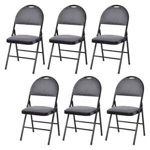 Pack Of 6 Commercial Party Event Metal Padded Stackable Folding Seat Chairs Set