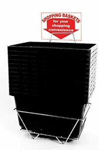12 Basket Set Shopping Baskets Black Jumbo size Heavy duty Grocery Basket
