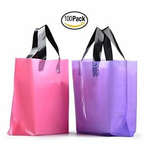100pcs Frosted Plastic Gift Bags Retail Clothing Grocery Boutique Shopping