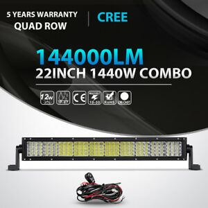 Quad Row 22inch 1440w Led Light Bar Combo Offroad Jeep Ford Truck Atv Car 20 24