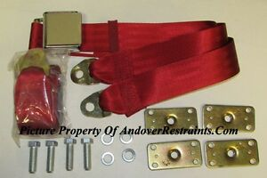 Dark Red Seat Belt Non Retractable Red Lap Seat Belts 2 Retrofit Mtg Kit 60