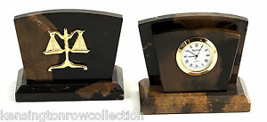 Desk Accessories Legal Scales Of Justice Marble Letter Holder W Quartz Clock