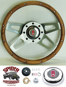 1968 Cutlass 442 F85 Steering Wheel 13 1 2 Walnut 4 Spoke