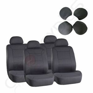 8pcs Fit Four Seasons Gray Front Rear Detachable Car Seat Covers For Honda