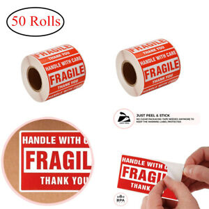 50 Rolls 500 roll 2 X 3 Fragile Stickers Handle With Care Shipping Labels Red