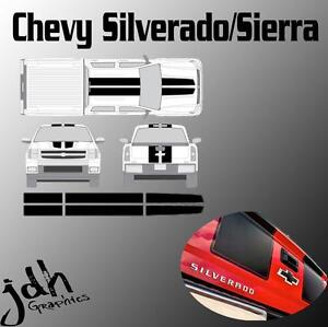 Chevy Silverado Sierra Rally Racing Stripes Vinyl Decal Sticker Graphics Kit