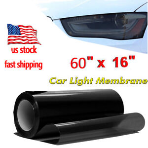 Car Headlight Tint Film Taillight Vinyl Wrap Fog Light Dark Black 16 X 60