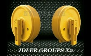 John Deere 450d Idler Gp With Brackets X2 Replacement New Dozer Front