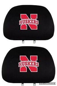 New Ncaa Team Promark Nebraska Cornhuskers Car Truck 2 Headrest Head Rest Covers