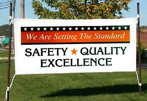 Safety Quality Excellence Business Advertising Banner Sign Flag 18x48 24x72 In
