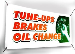Tune ups Brakes Oil Change Business Advertising Banners Sign Flag 18x48 24x72 In