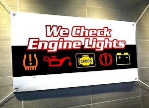 We Check Engine Lights Auto Repair Business Banner Sign Size 18 X 48 24 X72 In