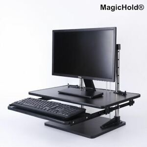 Adjustable Height Table Top Sit stand Desk Riser For Monitor laptop walnut