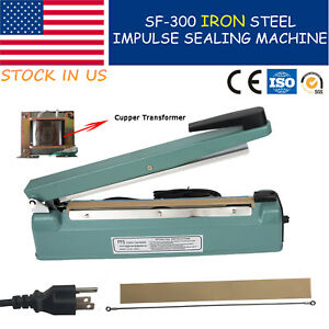 12 300mm Hand Manual Impulse Sealing Machine Heat Sealer With Iron Shell Copper