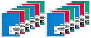 Mead Spiral Notebook 3 Subject College Ruled 120 Sheets 11 X 8 5 Assorted