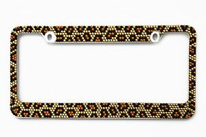 Bling Brown Leopard Diamond Metal License Plate Frame