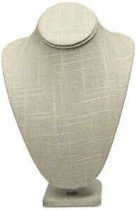 Grey Linen Necklace Jewelry Display Stand Bust Figure 7 5 X 5 125 X 11