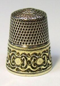 Antique Simons Bros Gold Band Sterling Silver Thimble Circles Scrolls