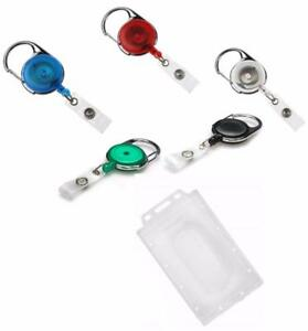 Retractable Key Reel Ski Pass Value Enclosed Id Card Security Badge Holder P t