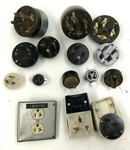 Lot Of 15 Assorted Hubbell Electrical Plugs Sockets Flush Mount Receptacles