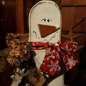 Handcrafted Wooden Snowman Adorable