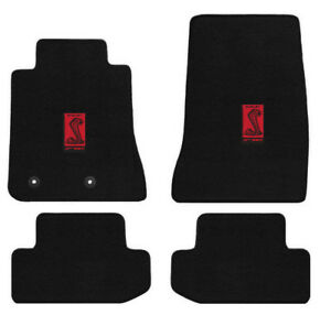New 2015 2016 Ford Mustang Black Floor Mats Carpet Shelby Cobra Red Gt350 Badge